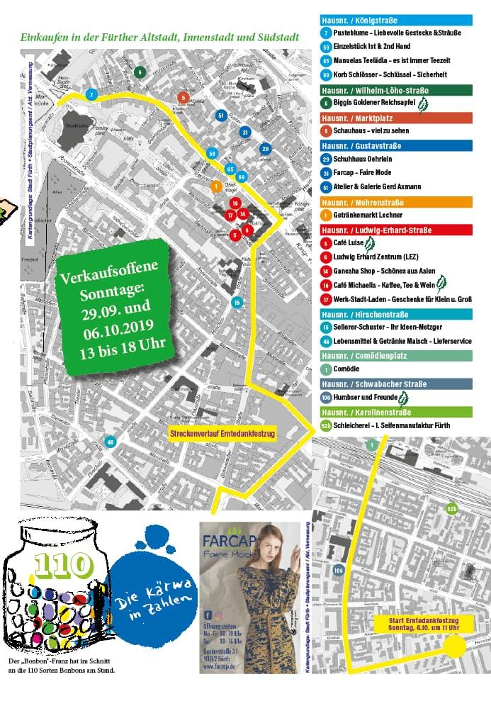 Lageplan der Fürther Michaelis Kirchweih 2019
