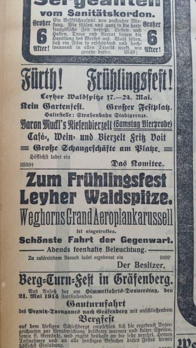 Anzeige Leyher Waldspitze 1914