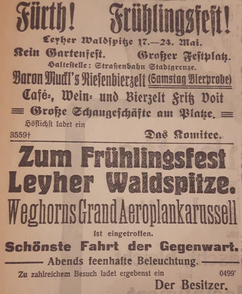 Werbeanzeige Leyher Waldspitze 1914