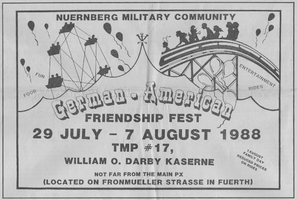 Einladung des Darby-Sentinel  um Deutsch-Amerikanischen Freundschaftsfest 1988